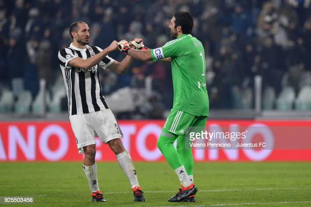Gianluigi Buffon of Juventus and Giorgio Chiellini celebrate the victory at the end of the TIM Cup match between Juventus and Atalanta BC at Allianz...
