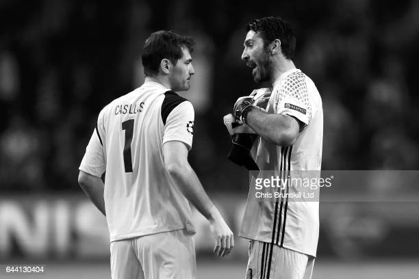 Gianluigi Buffon of Juventus and Iker Casillas of FC Porto speak at the end of the UEFA Champions League Round of 16 first leg match between FC Porto...