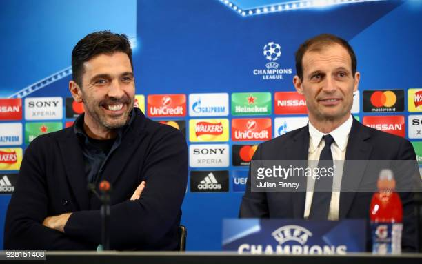 Gianluigi Buffon of Juventus and Massimiliano Allegri Coach of Juventus speak to the media during the Juventus press conference at Wembley Stadium on...