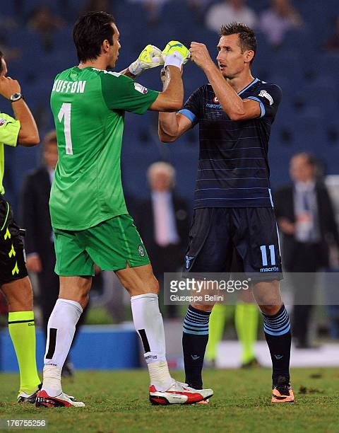 6225cb352 Gianluigi Buffon of Juventus and Miroslav Klose of Lazio after the TIM  Supercup match between SS