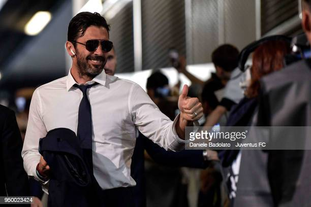 Gianluigi Buffon of Juventus arrives at Allian Stadium before the serie A match between Juventus and SSC Napoli on April 22 2018 in Turin Italy