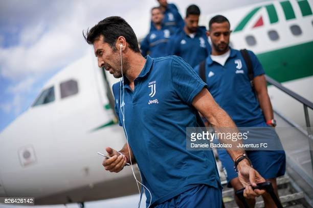 Gianluigi Buffon of Juventus arrives on August 4 2017 in London United Kingdom