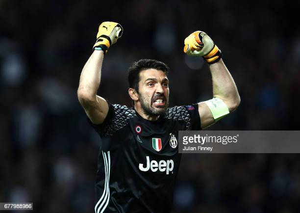 Gianluigi Buffon of Juventus celebrates after Gonzalo Higuain scores his sides second goal during the UEFA Champions League Semi Final first leg...