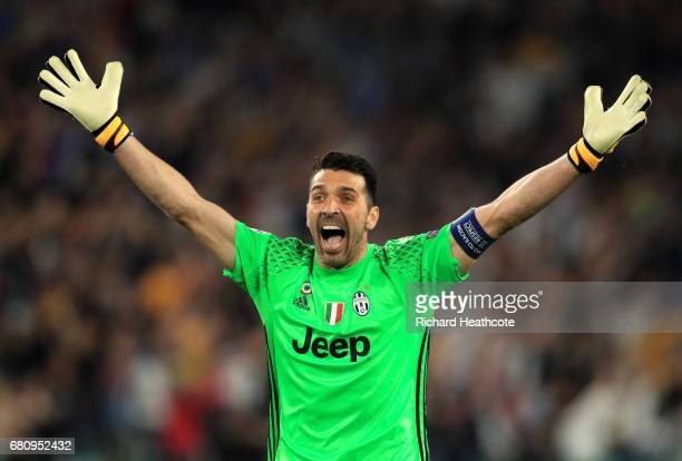 Gianluigi Buffon of Juventus celebrates after his side score their first goal during the UEFA Champions League Semi Final second leg match between...
