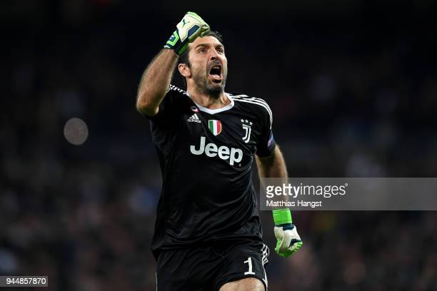 Gianluigi Buffon of Juventus celebrates after his sides third goal during the UEFA Champions League Quarter Final Second Leg match between Real...