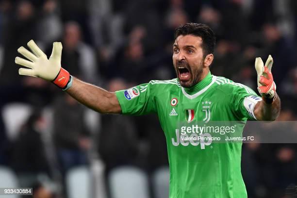 Gianluigi Buffon of Juventus celebrates after his teammate Blaise Matuidi scored their second goal during the Serie A match between Juventus and...