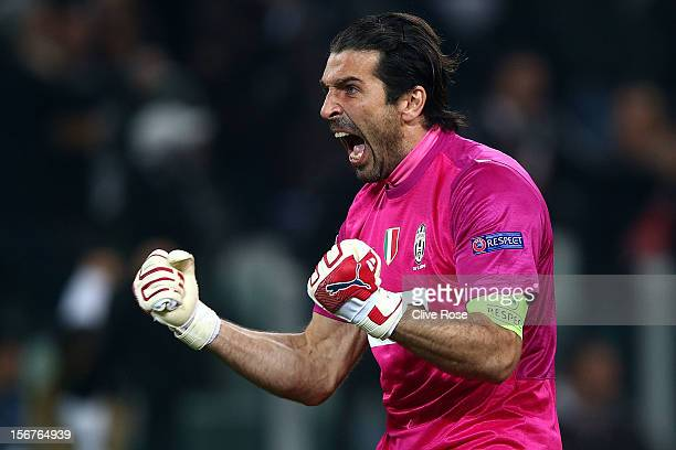Gianluigi Buffon of Juventus celebrates after Juventus score their second goal during the UEFA Champions League Group E match between Juventus and...