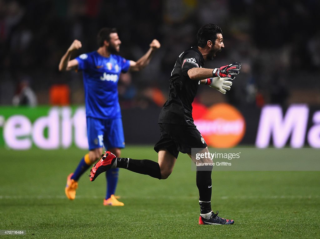 Gianluigi Buffon of Juventus celebrates after the final whistle during the UEFA Champions League quarter-final second leg match between AS Monaco FC and Juventus at Stade Louis II on April 22, 2015 in Monaco, Monaco.