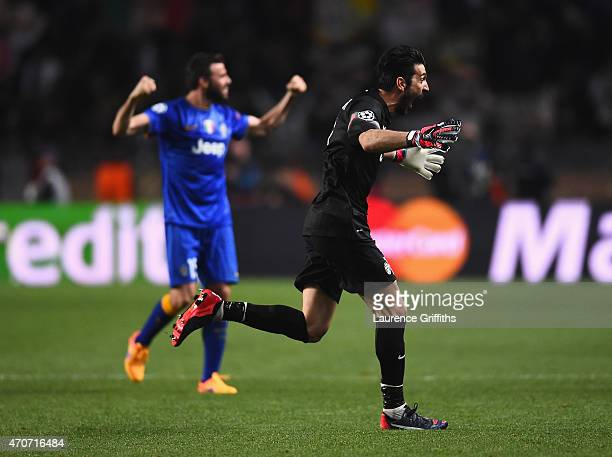 Gianluigi Buffon of Juventus celebrates after the final whistle during the UEFA Champions League quarterfinal second leg match between AS Monaco FC...