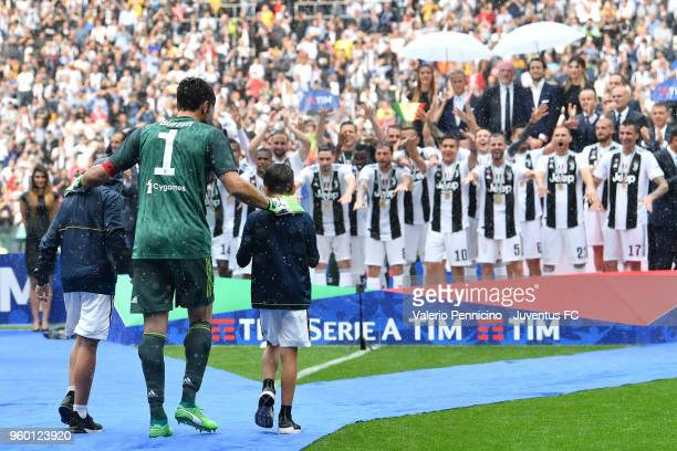 Gianluigi Buffon of Juventus celebrates after winning their seventh league titles in a row at the end the serie A match between Juventus and Hellas...