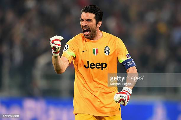 Gianluigi Buffon of Juventus celebrates as Alvaro Morata of Juventus scores their first goal during the UEFA Champions League semi final first leg...
