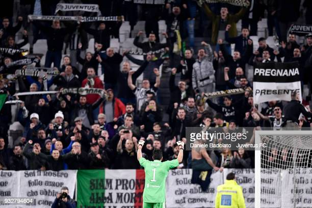 Gianluigi Buffon of Juventus celebrates at the end of the serie A match between Juventus and Atalanta BC on March 14 2018 in Turin Italy