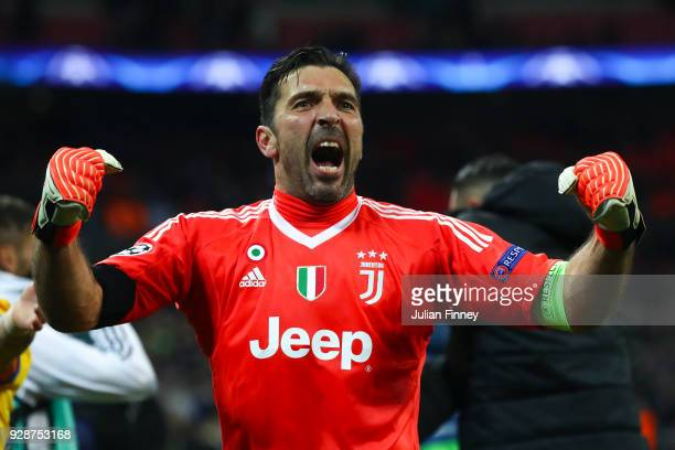 Gianluigi Buffon of Juventus celebrates at the end of the UEFA Champions League Round of 16 Second Leg match between Tottenham Hotspur and Juventus...