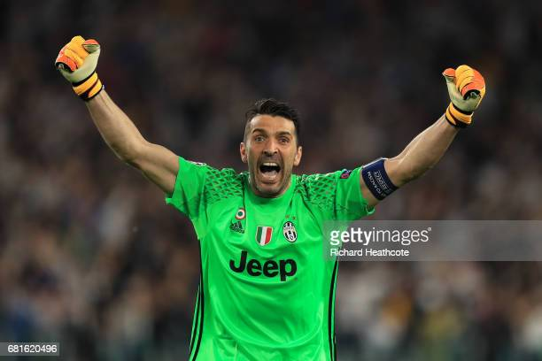 Gianluigi Buffon of Juventus celebrates the first goal during the UEFA Champions League Semi Final second leg match between Juventus and AS Monaco at...