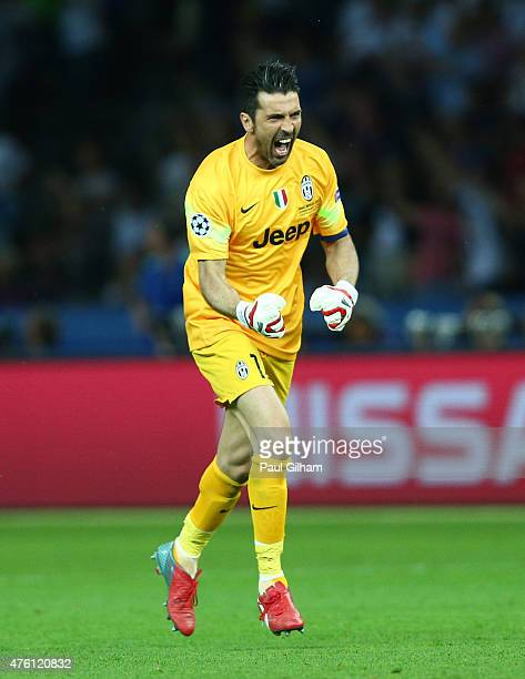 Gianluigi Buffon of Juventus celebrates the goal scored by Alvaro Morata during the UEFA Champions League Final between Juventus and FC Barcelona at...