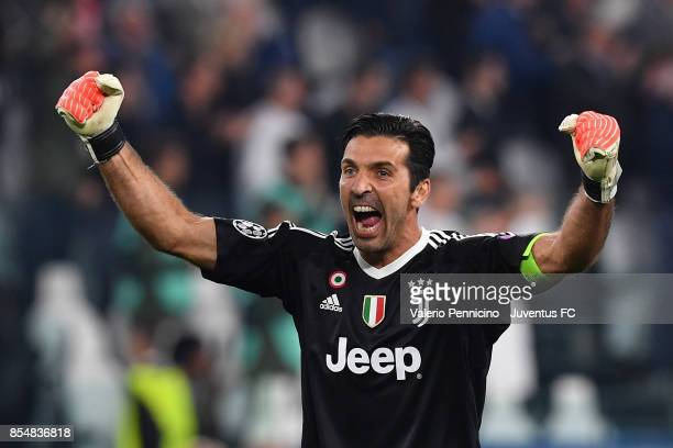 Gianluigi Buffon of Juventus celebrates the second goal of his team during the UEFA Champions League group D match between Juventus and Olympiakos...
