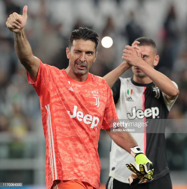 Gianluigi Buffon of Juventus celebrates the victory at the end of the Serie A match between Juventus and Hellas Verona at Allianz Stadium on...