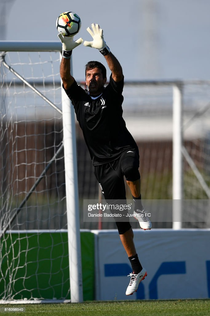 Gianluigi Buffon of Juventus during a training session on July 17, 2017 in Vinovo, Italy.