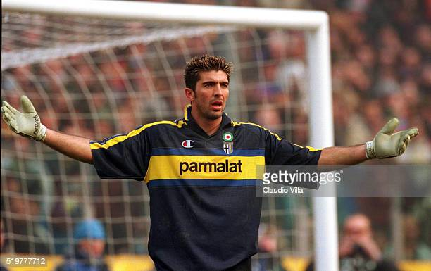 Gianluigi Buffon of Juventus during Serie A match played between Parma and Juventus at Ennio Tardini stadium on January 9 2000 in Parma Italy