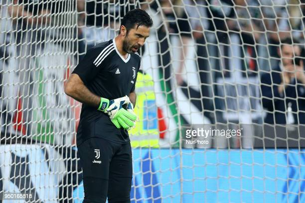 Gianluigi Buffon of Juventus during the serie A match between Juventus and SSC Napoli on April 22 2018 in Turin Italy