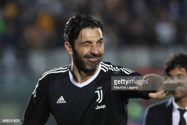 Gianluigi Buffon of Juventus during the serie A match between FC Crotone and Juventus at Stadio Comunale Ezio Scida on April 18 2018 in Crotone Italy
