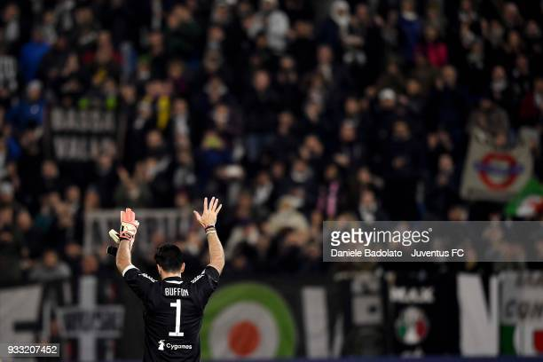 Gianluigi Buffon of Juventus during the serie A match between Spal and Juventus at Stadio Paolo Mazza on March 17 2018 in Ferrara Italy