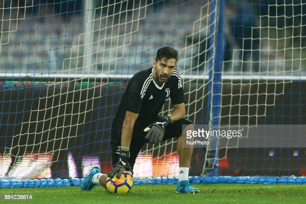 Gianluigi Buffon of Juventus during warm up before the start of the Serie A match between SSC Napoli and Juventus at Stadio San Paolo on December 1...