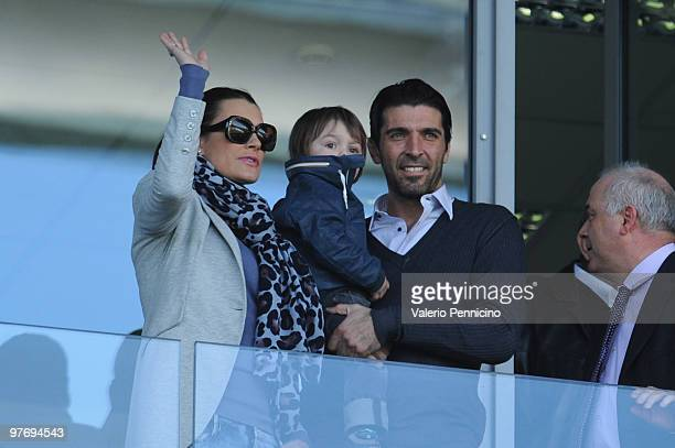 Gianluigi Buffon of Juventus FC and Alena Seredova attend during the Serie A match between Juventus FC and AC Siena at Stadio Olimpico di Torino on...