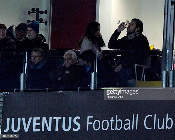 Gianluigi Buffon of Juventus FC and Alena Seredova during the Serie A match between Juventus and Fiorentina at Olimpico Stadium on November 27 2010...