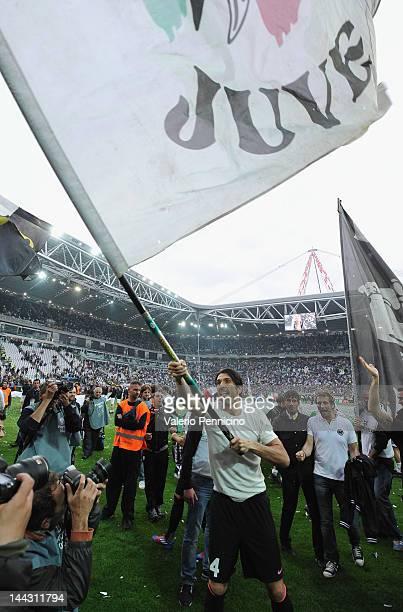 Gianluigi Buffon of Juventus FC celebrates after the Serie A match between Juventus FC and Atalanta BC at Juventus Stadium on May 13 2012 in Turin...