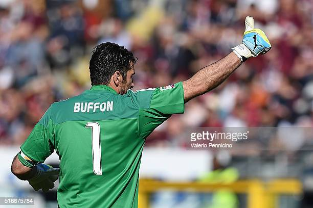 Gianluigi Buffon of Juventus FC celebrates his record of minutes without conceding goals during the Serie A match between Torino FC and Juventus FC...