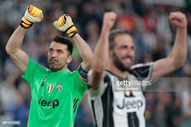 Gianluigi Buffon of Juventus FC celebrates the victory at the end of the UEFA Champions League Semi Final second leg match between Juventus and AS...