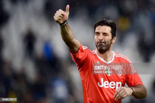 Gianluigi Buffon of Juventus FC celebrates the victory at the end of the Serie A football match between Juventus FC and UC Sampdoria Juventus FC won...