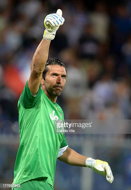 Gianluigi Buffon of Juventus FC celebrates victory at the end of the Serie A match between UC Sampdoria and Juventus at Stadio Luigi Ferraris on...