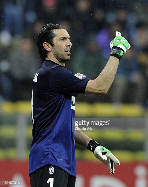 Gianluigi Buffon of Juventus FC during the Serie A match between Parma FC and Juventus FC at Stadio Ennio Tardini on January 13 2013 in Parma Italy