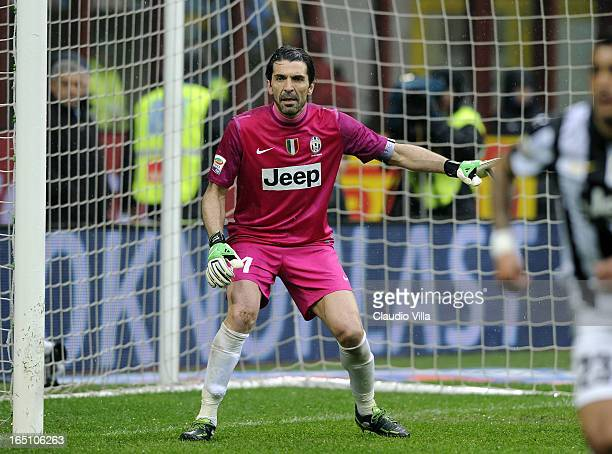 Gianluigi Buffon of Juventus FC during the Serie A match between FC Internazionale Milano and Juventus FC at San Siro Stadium on March 30 2013 in...