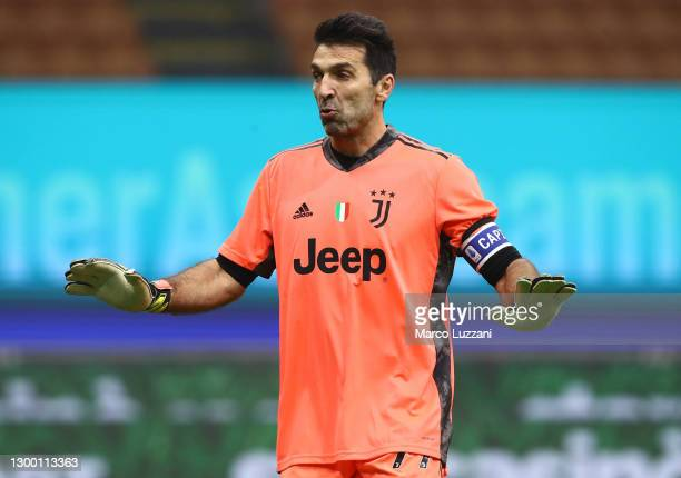 Gianluigi Buffon of Juventus FC gestures during the Coppa Italia semi-final match between FC Internazionale and Juventus at Stadio Giuseppe Meazza on...
