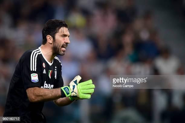 Gianluigi Buffon of Juventus FC gestures during the Serie A football match between Juventus FC and SSC Napoli SSC Napoli won 10 over Juventus FC