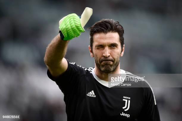 Gianluigi Buffon of Juventus FC gestures prior to the Serie A football match between Juventus FC and UC Sampdoria Juventus FC won 30 over UC Sampdoria
