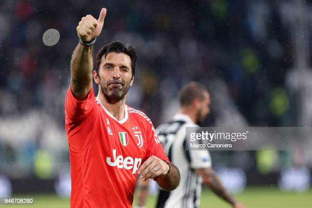 Gianluigi Buffon of Juventus FC greet fans at the end of the Serie A football match between Juventus FC and Uc Sampdoria Juventus Fc wins 30 over Uc...