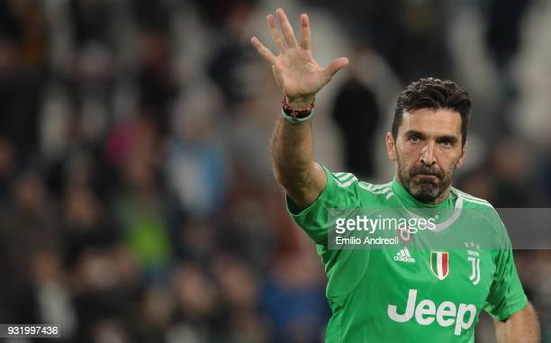 Gianluigi Buffon of Juventus FC greets the fans at the end of the serie A match between Juventus and Atalanta BC at Allianz Stadium on March 14 2018...