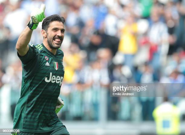 Gianluigi Buffon of Juventus FC greets the fans in his last match for the club during the serie A match between Juventus and Hellas Verona FC at...