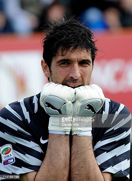 Gianluigi Buffon of Juventus FC looks dejected during the Serie A match between Parma FC and Juventus FC at Stadio Ennio Tardini on May 15 2011 in...
