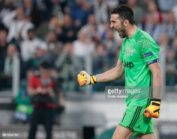 Gianluigi Buffon of Juventus FC reacts after making a save during the UEFA Champions League Quarter Final first leg match between Juventus and FC...