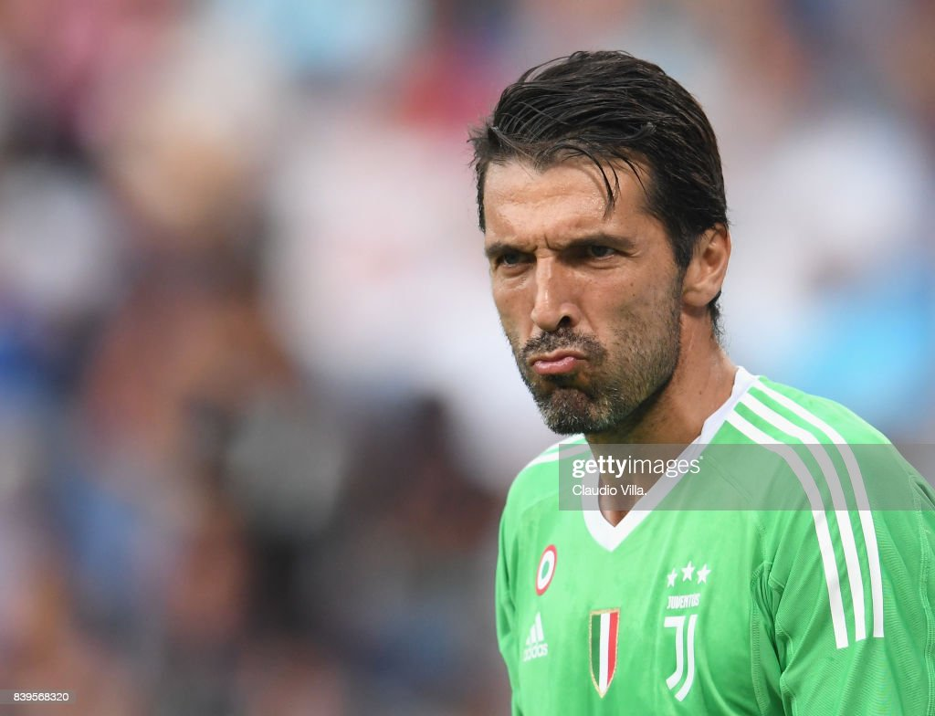Gianluigi Buffon of Juventus FC reacts during the Serie A match between Genoa CFC and Juventus at Stadio Luigi Ferraris on August 26, 2017 in Genoa, Italy.