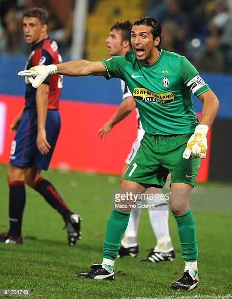 Gianluigi Buffon of Juventus FC reacts during the Serie A match between Genoa CFC and SSC Juventus FC at Stadio Luigi Ferraris on September 24 2009...