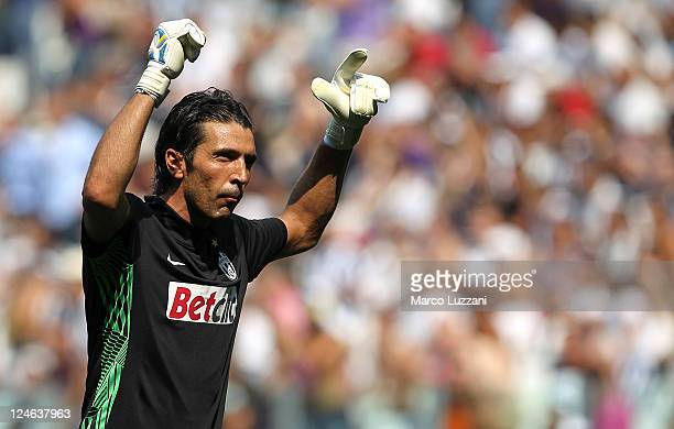Gianluigi Buffon of Juventus FC reacts during the Serie A match between Juventus FC and Parma FC at Juventus Stadium on September 11 2011 in Turin...