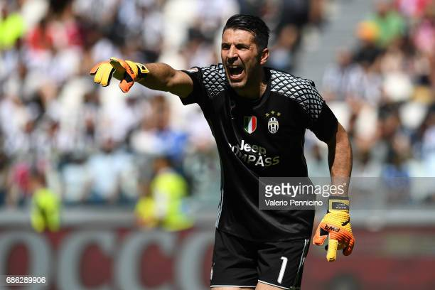 Gianluigi Buffon of Juventus FC reacts during the Serie A match between Juventus FC and FC Crotone at Juventus Stadium on May 21 2017 in Turin Italy