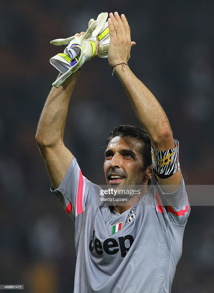 Gianluigi Buffon of Juventus FC salutes the fans at the end of the Serie A match between AC Milan and Juventus FC at Stadio Giuseppe Meazza on September 20, 2014 in Milan, Italy.