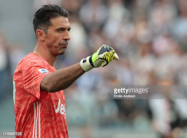 Gianluigi Buffon of Juventus gestures during the Serie A match between Juventus and Hellas Verona at Allianz Stadium on September 21 2019 in Turin...